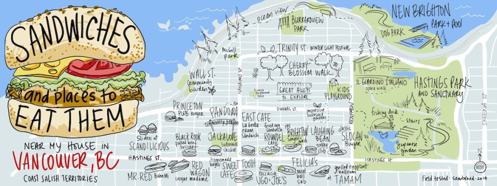 sam bradd, hand drawn map, vancouver, image, drawing, illustration, food, foodie, sandwich, east vancouver, hastings sunrise, east village vancouver, grandview woodland, community development, community building, union, illustrator, best practice, visualization, visual learners, mind map, visual practitioner, creativity, sketch noters, visual notetaking, facilitator, visual thinking, visual synthesis, profit, progressive, environment, sustainability, community, urban planning, walkability,