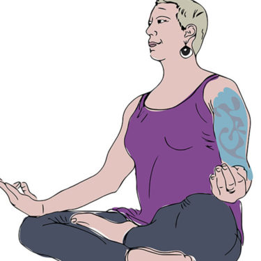 Illustrated Portrait of person meditating