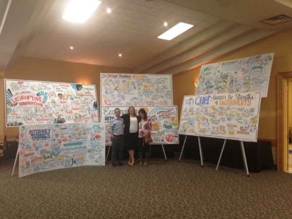 graphic recording at tech leadership event - display on easels