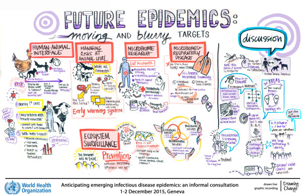 Future targets session - Preventing the spread of disease in a global village - World Health Organization graphic recording emerging infectious disease epidemics sam bradd graphic recording