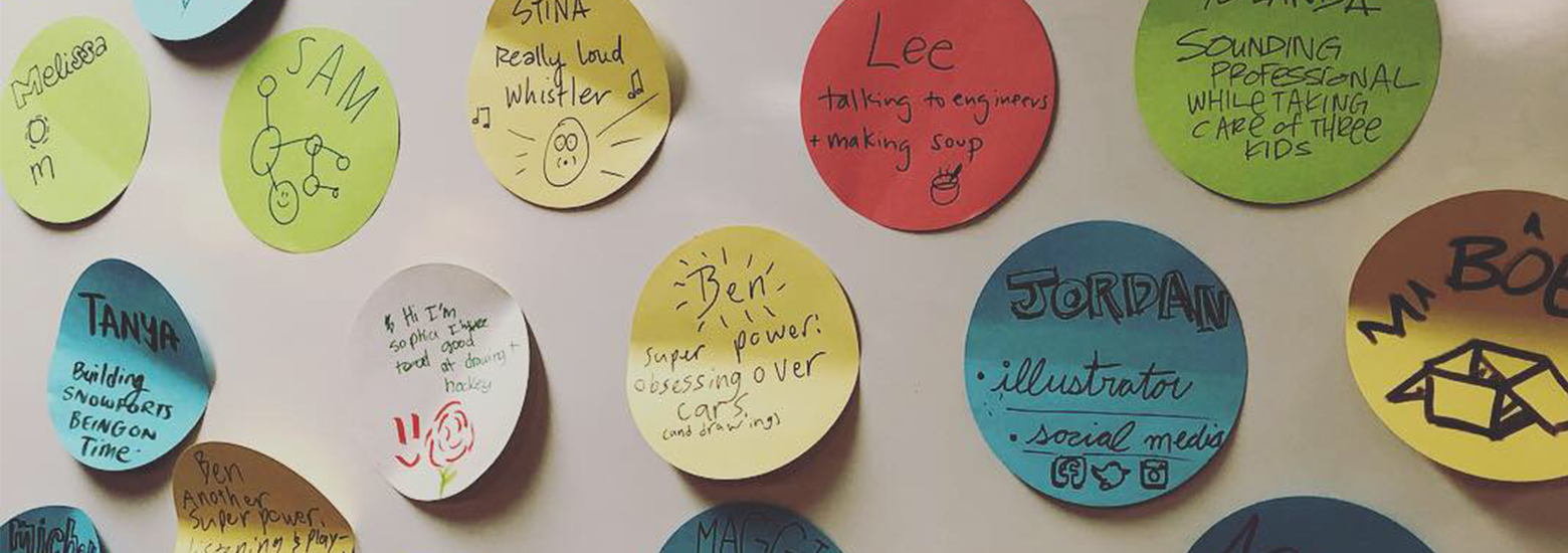 circle illustrated name stickies