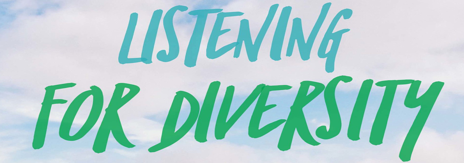 Hand lettered listening for diversity text