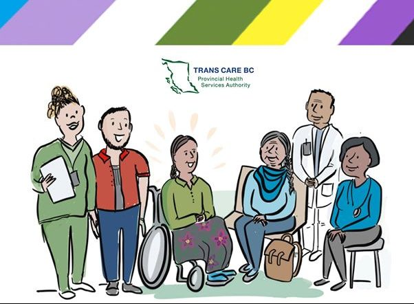 trans care bc image of 2spirit person using a wheelchair in the centre of the image surrounded by caregivers and community