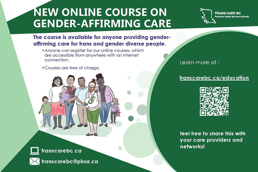 Trans Care BC illustration of diverse gender creative people to advertise a free online course on gender affirming care