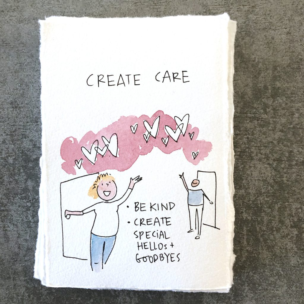 create care - image of people waving to each other with hearts . be kind