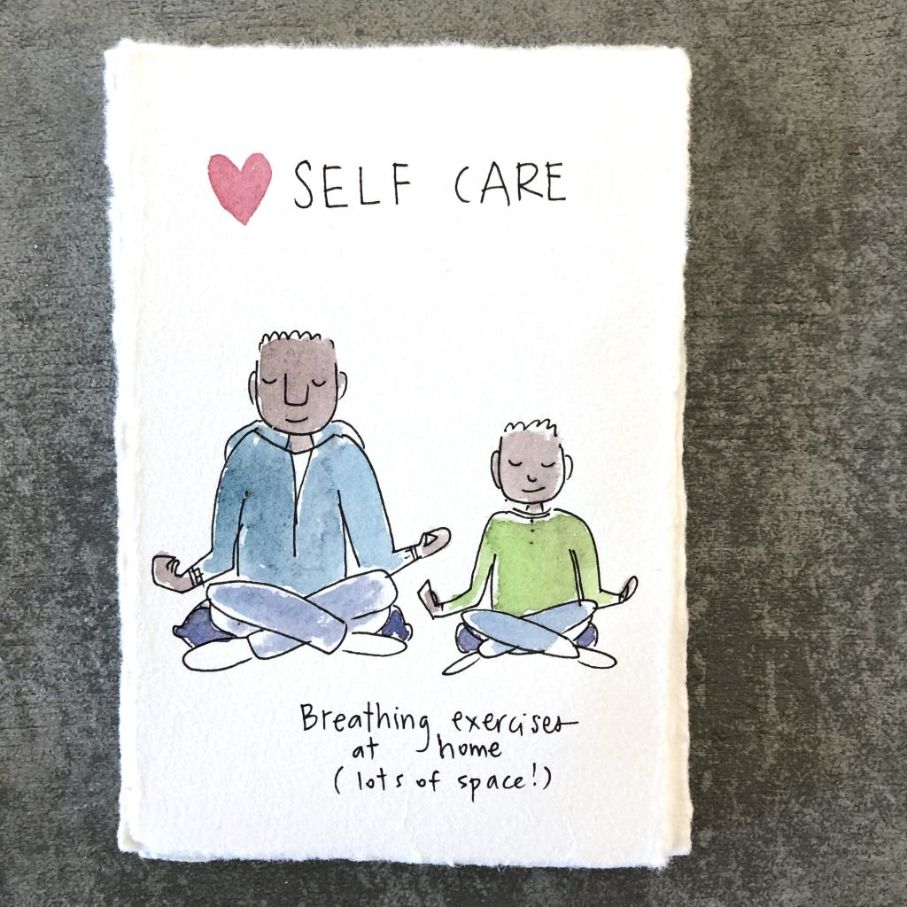 self care - try image of father and kid doing breathing exercises together