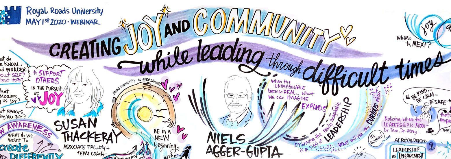 Graphic recording royal roads leadership Joy and Community