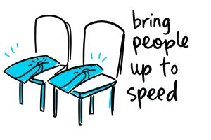 graphic recording - use the images after the meeting by printing and sharing the images eg on chairs or online