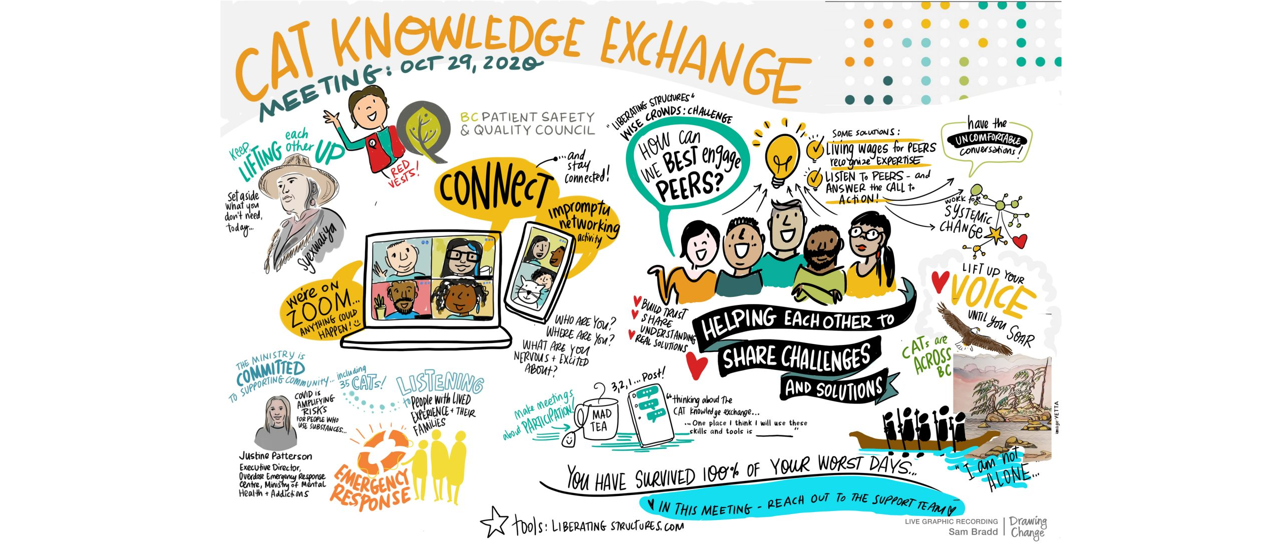 Community Action Team (CAT) Knowledge Exchange Opioid Crisis Resources graphic recording from BCPSQC sam bradd
